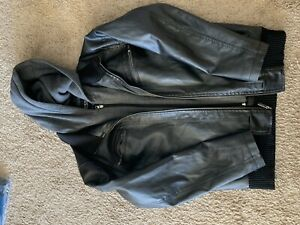 Guess-Black-Hooded-Faux-Leather-Jacket-W-Hood-Men-039-s-Size-Medium