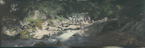 Japan-Panoramic-View-Group-posing-on-a-bridge-Vintage-silver-print-Vue-panor