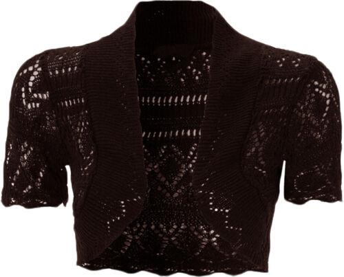 Bolero 8 Manga Ganchillo Chaqueta Mujer Punto Camiseta Corto Torera twUq7I 90c5356cc607