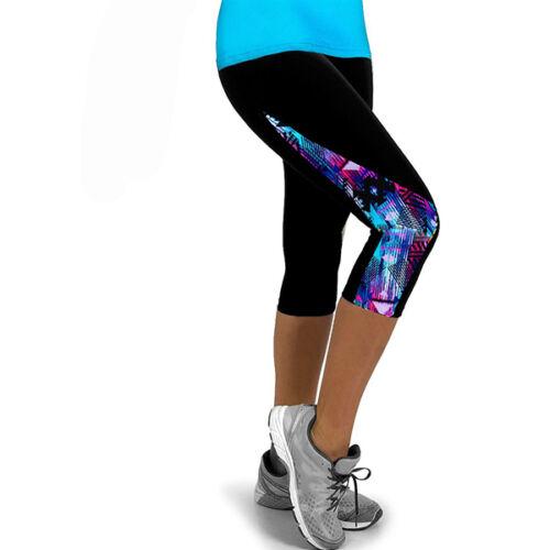 Damen Capri Leggings 3//4 Leggins Tights Hose Jogging Fitness Caprihose Laufhose