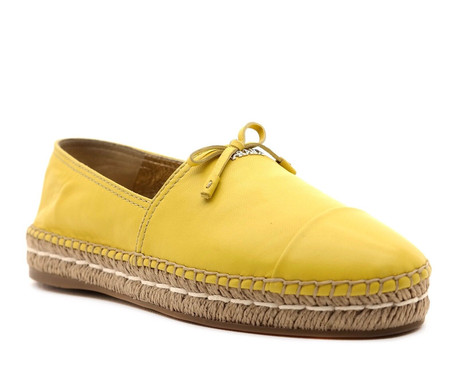 Prada Espadrilles 10 Flats Yellow Leather Size 10 Espadrilles NIB 66192a