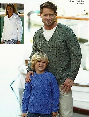 KNITTING PATTERN MENS LADYS BOY GIRL ARAN 3x NECKS CARDIGAN 30 32 34 36 38 40/""