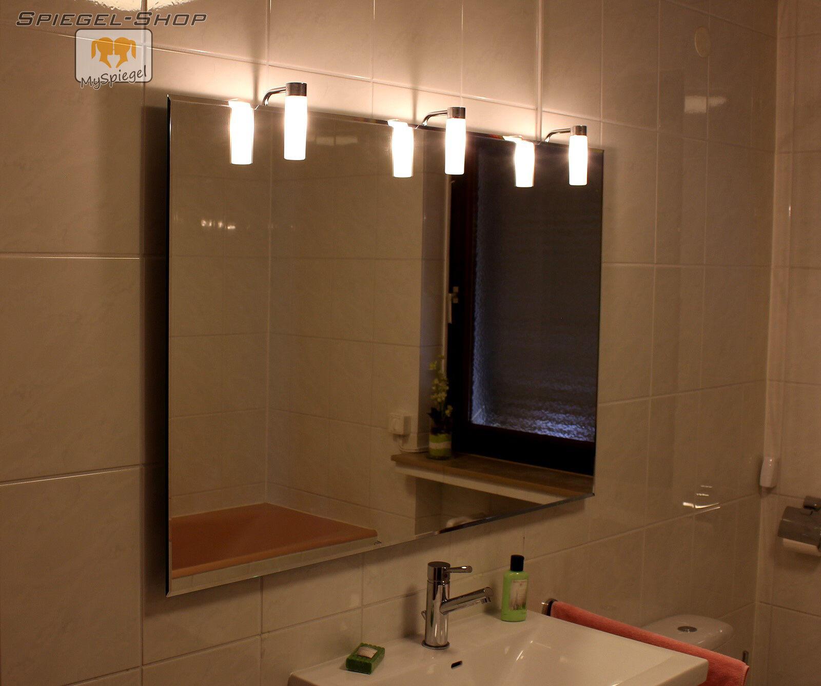 ALTA LED BADSPIEGEL LEUCHTSPIEGEL MIT STEILFACETTE 130x70CM MIT 3 LAMPEN
