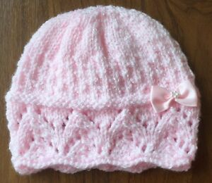Hand Knitted Baby Hat (0-3 Months) Pink Shimmer With Bow  1ff6eca20a5
