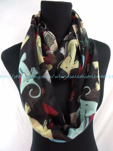 US SELLER longshawl loop scarf elephant animals infinity scarf