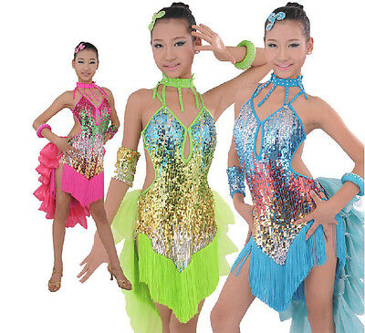 New Girls Professional Sewing Sequins Latin Dance Competition Performance Dress