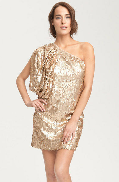 AIDAN MATTOX  gold Aidan By Matte Sequin One Shoulder Dress - Sz 4 NWT