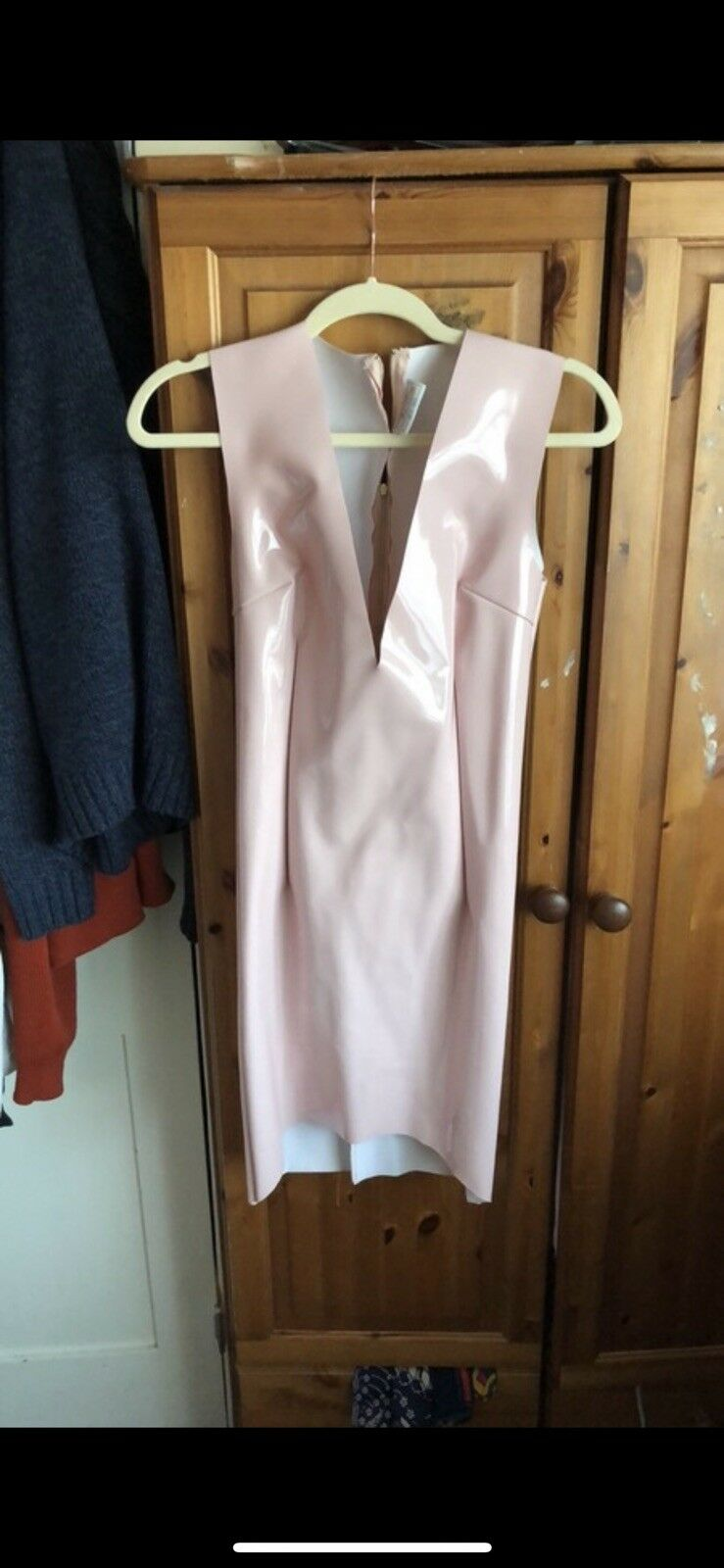 Oh Polly Pink Pvc Dress Size M   12
