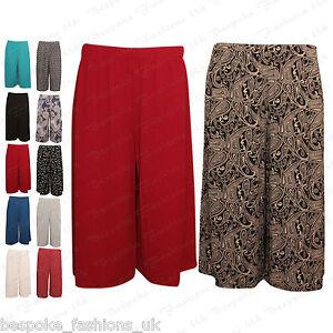 Ladies-Womens-Elasticated-Stretch-Print-Wide-Leg-Culottes-Shorts-Plus-Size-8-30