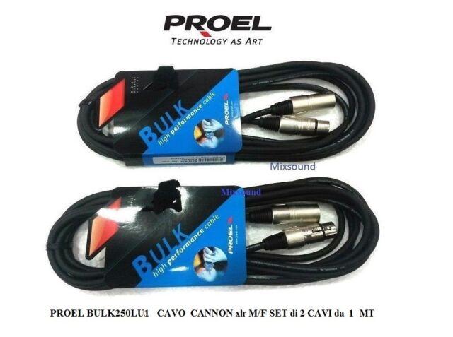 PROEL BULK250LU1 CAVO per MICROFONO CASSE CANNON xlr M/F SET CON 2 CAVI da 1 MT
