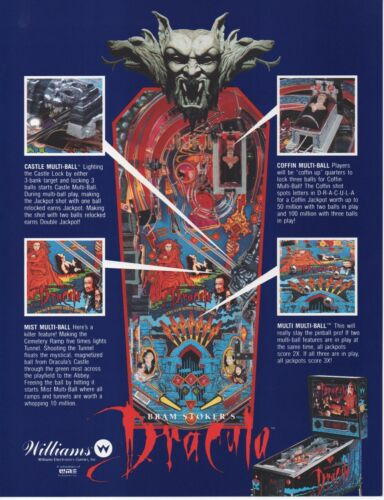 2 1993 WILLIAMS DRACULA FLYERS DISPLAY BOTH SIDES