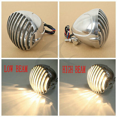 Chrome Motorcycle Finned Grill Headlight For Harley Bobber Chopper Cruiser