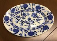 "Antique Johnson Bros. Holland Blue Onion Flow Blue Serving Dish Platter 9 3/4"""