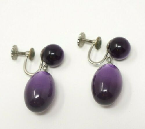 Bracelet and earrings Whiting Davis Purple Cats Eye silver cuff and silver purple cats eye clip on earrings Pierced conversion available