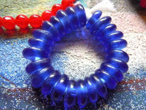 25 Stk.kobaltblaue afrikanische Scheiben aus Recycleglas - ca.5x12mm