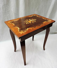LOVELY WOOD TABLE MUSIC BOX WITH PATTERNED INLAY TOP  ISLE OF CAPRI, ITALY