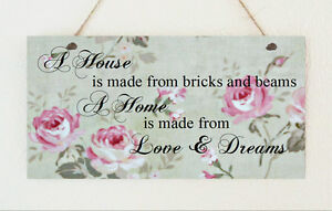 House-Warming-Plaque-Distressed-Love-amp-Dreams-Gift-Sign-Mother-039-s-Day-Home-Sweet