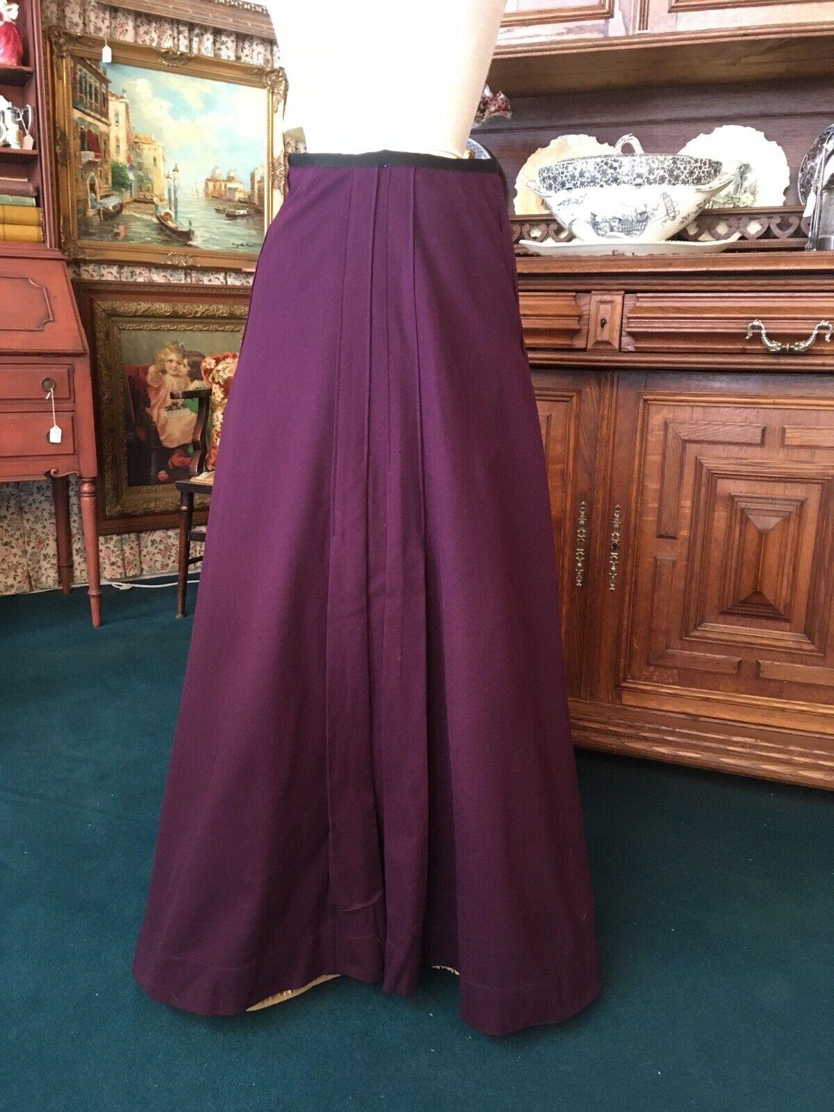 #21-029, Purple Edwardian Pleated Wool Skirt Early 1900