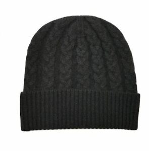 The Scarf Company 100% Cashmere Black Cable Knit Beanie - Made in ... ca3269d938e4