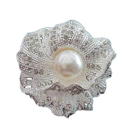 Wedding Decoration Bridal Silver with White Pearl Flower Shiny Brooch Pin BR65