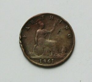 1861-UK-British-Victoria-Coin-Farthing-1-4d-dents-cleaned