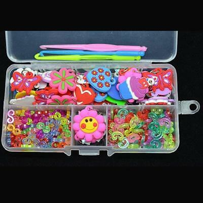Fun 50 Charms+100 S-Clips+100 C-Clips+Hook+Box Loom Kit Rubber Bands Bracelet G