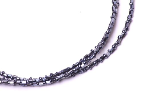 TRENDY GUNMETAL CHOKER NECKLACE 3 SPARKLY LINES OF SLIM PLASTIC BEADS ZX27