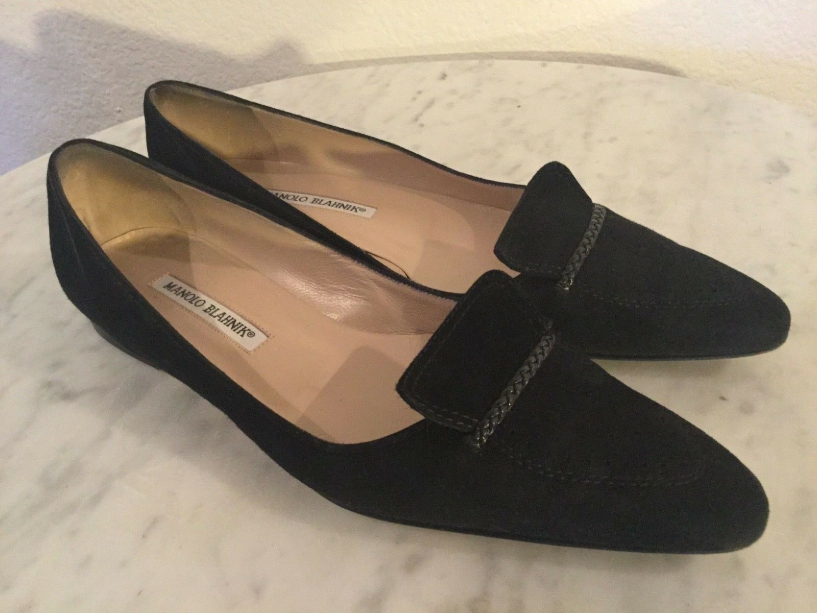 MANOLO BLAHNIK Black Suede, Flap Vamp,Leather Detail Ballet Flats Flats Flats Wm Sz 39 1 2 M c8d29f