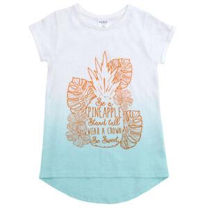 Girls Dip Dye Cotton T Shirt Kids Printed Summer Holiday Top Heart Unicorn 2-13
