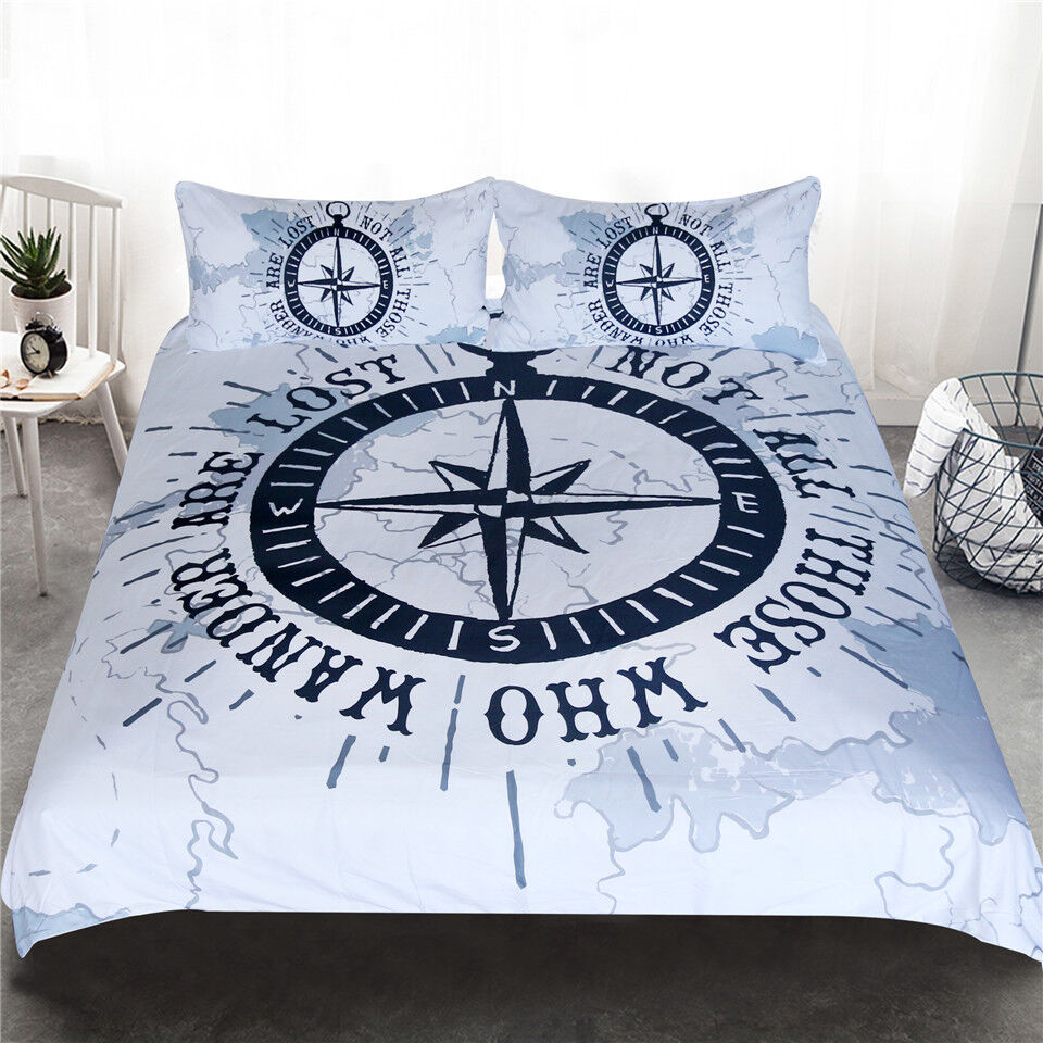 Compass Bedding Set Nautical Map Duvet Cover Navy bluee and White Bedclothes