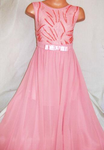 Le ragazze rosa pastello Scintillante Paillettes Chiffon in Pizzo intero Maxi Abito da sera