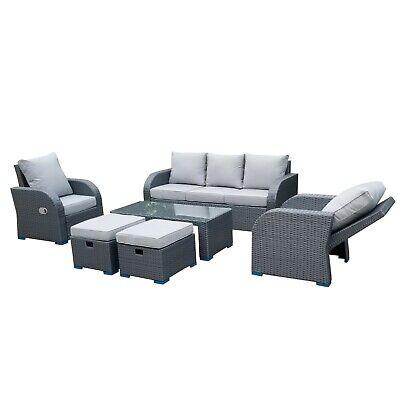 Grey Rattan Garden Furniture Patio Sofa, Grey Rattan Garden Furniture Patio Sofa Chair Set Conservatory Alfresco