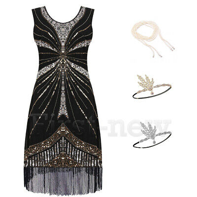 1920s Flapper Great Gatsby Party Cocktail Dress Beaded