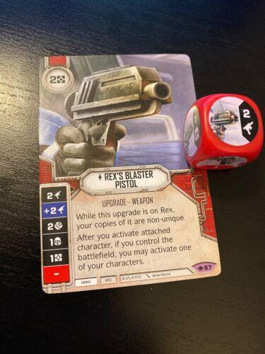 Star Wars Destiny Way of the Force Legendary Rex/'s Blaster Pistol #87 w// Die