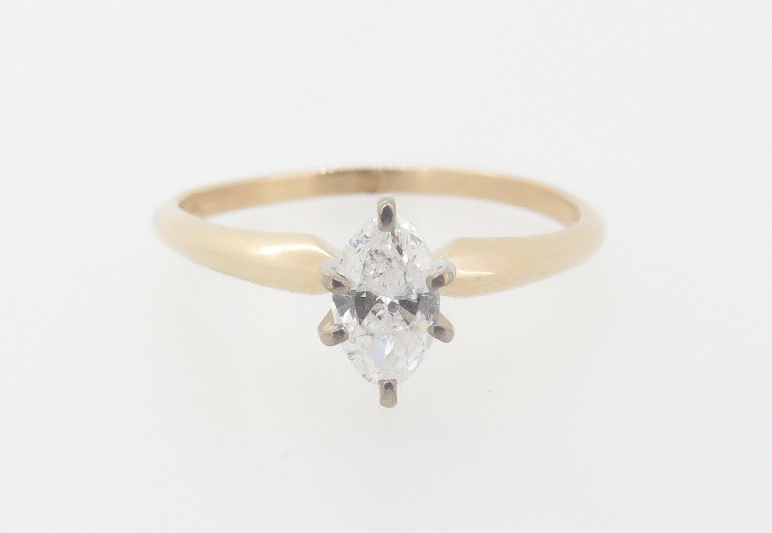 .Marquise Cut 0.37ct Diamond G Colour 14k Yellow gold Solitaire Ring Val  2320