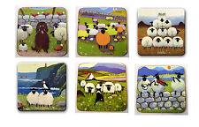 Thomas Joseph Set of 6 Coasters Drink Mats Set 3 Fun Cute Sheep Design