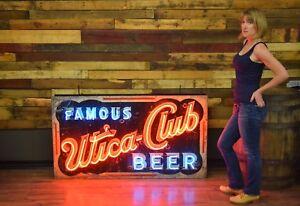 Rare Utica Club Neon 1930's White's & Flexlume Original Sign New York Brewery Ad
