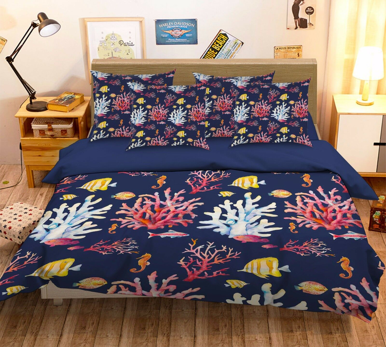 3D Farbe Rocal 786 Bed Pillowcases Quilt Duvet Cover Set Single Queen UK Carly