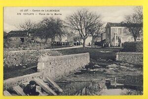 cpa-FRANCE-Canton-de-Lalbenque-46-VAYLATS-Lot-Place-de-la-Mairie-Abreuvoir
