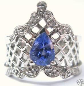 Fine-Vintage-Pear-Shape-Gem-Tanzanite-Diamond-White-Gold-Jewelry-Ring-14KT