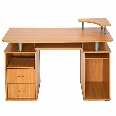 Computer Desk with Shelves Cupboard & Drawer Home Office PC Table Workstation