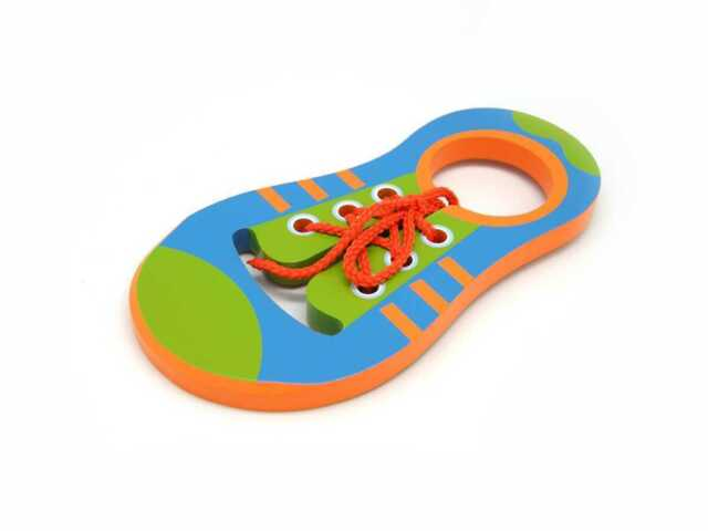 Kaper Kidz Wooden LEARN to TIE SHOE LACE Lacing Shoe Coordination Toy