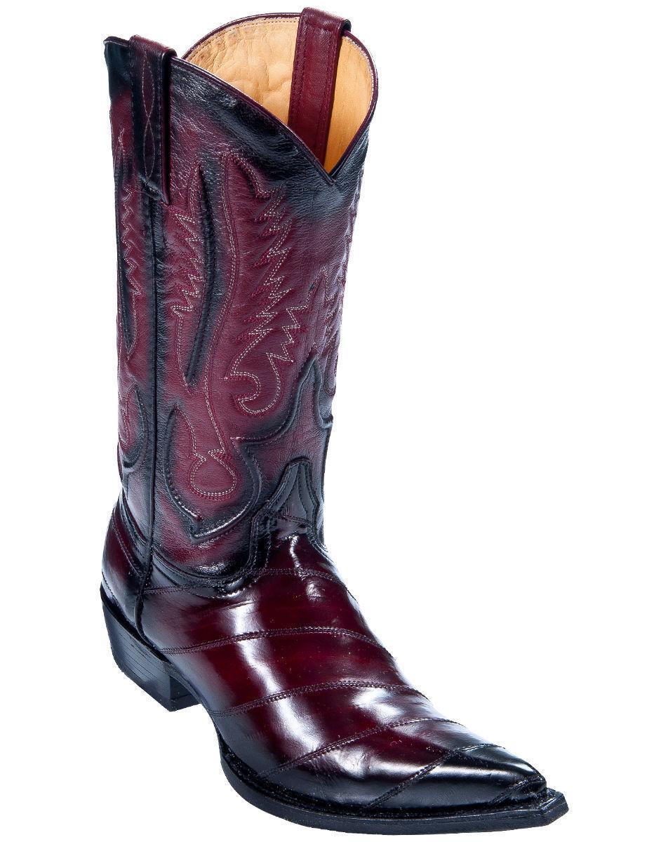 Los altos hombres Borgoña 3X-TOE Original Bota de vaquero occidental eel Skin (D) 95DV0843