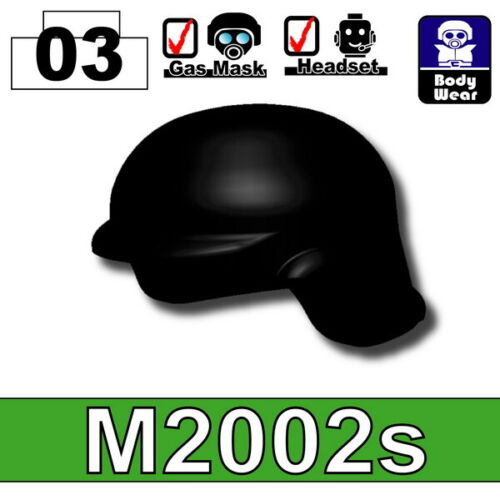 Black M2002s Tactical Helmet for LEGO army military brick minifigures