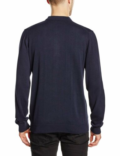 French Connection New Mens Slim Fit Long Sleeve Knit Cotton Polo Top Plain Blue