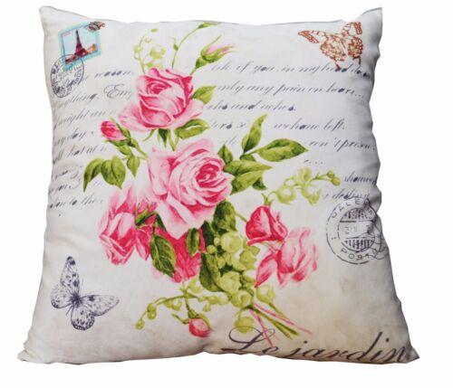 Deko Kissen mit Füllung 45x45 Blumen Rosen Sofakissen Dekokissen Vintage