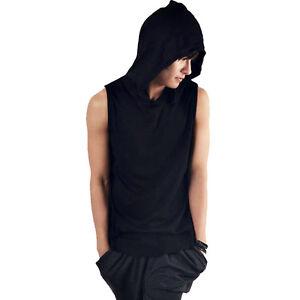 herren hoodie rmellos cap tops t shirt mit kapuze wei. Black Bedroom Furniture Sets. Home Design Ideas