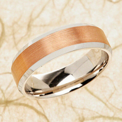 His-amp-Hers-8mm-Engagement-Wedding-Band-TwoTone-White-amp-Rose-14k-Gold-Size-4-to13