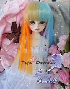 Bjd Doll Wig 1//3 8-9 SD MSD AOD DZ LUTS Dollfie Doll blue black Toy Head Hair