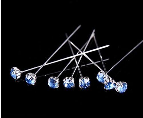 """36 o 72 4cm Azul Claro Calidad Diamante Pines De Lujo Cristal Diamonte 1.5/"""" 12"""